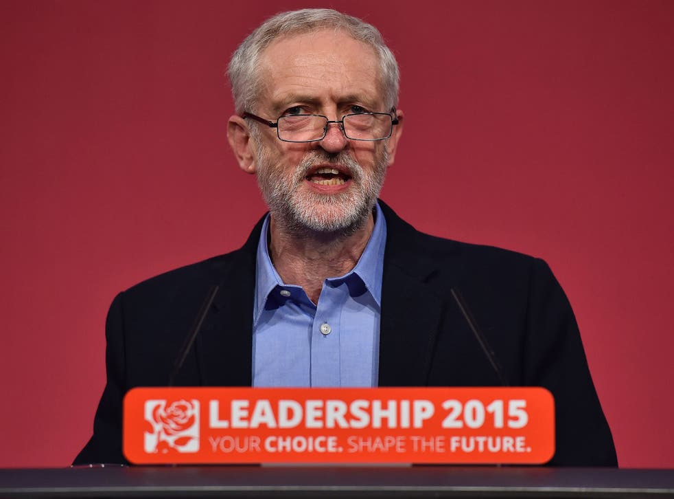 Corbyn addresses the audience after being announced as the new leader of the Labour party in London