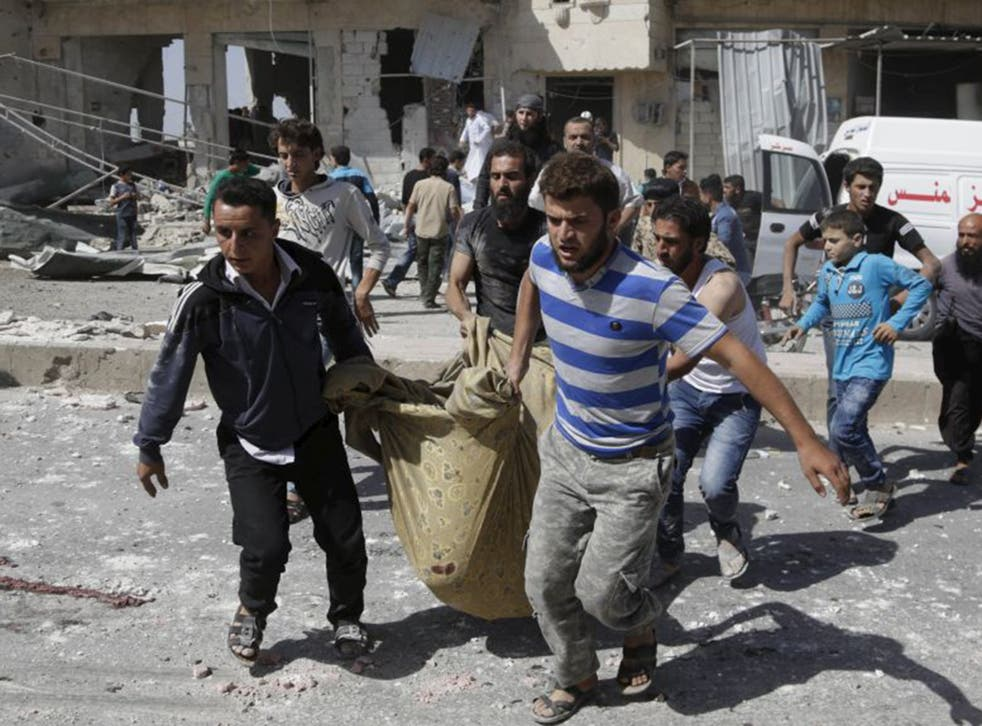 Survivors of an airstrike attack last week