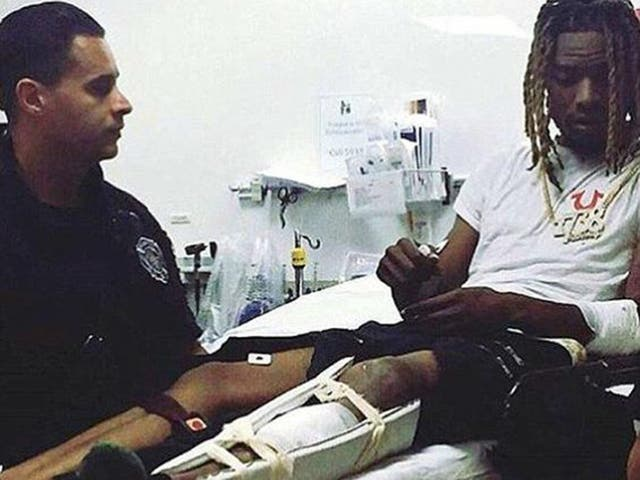 Fetty Wap pictured in hospital following the road traffic accident