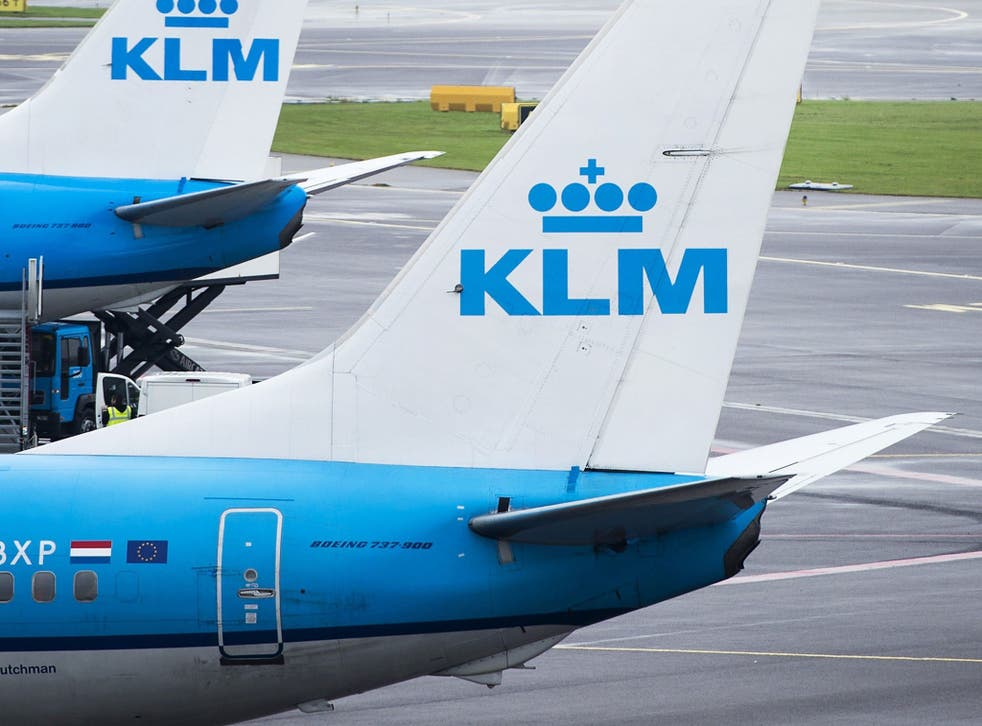 KLM Aircrafts are pictured at the Schiphol airport