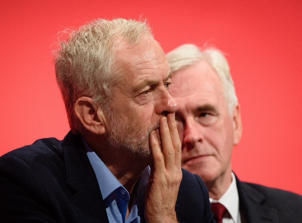 Labour leader Jeremy Corbyn and shadow chancellor John McDonnell at the second day of the annual party conference