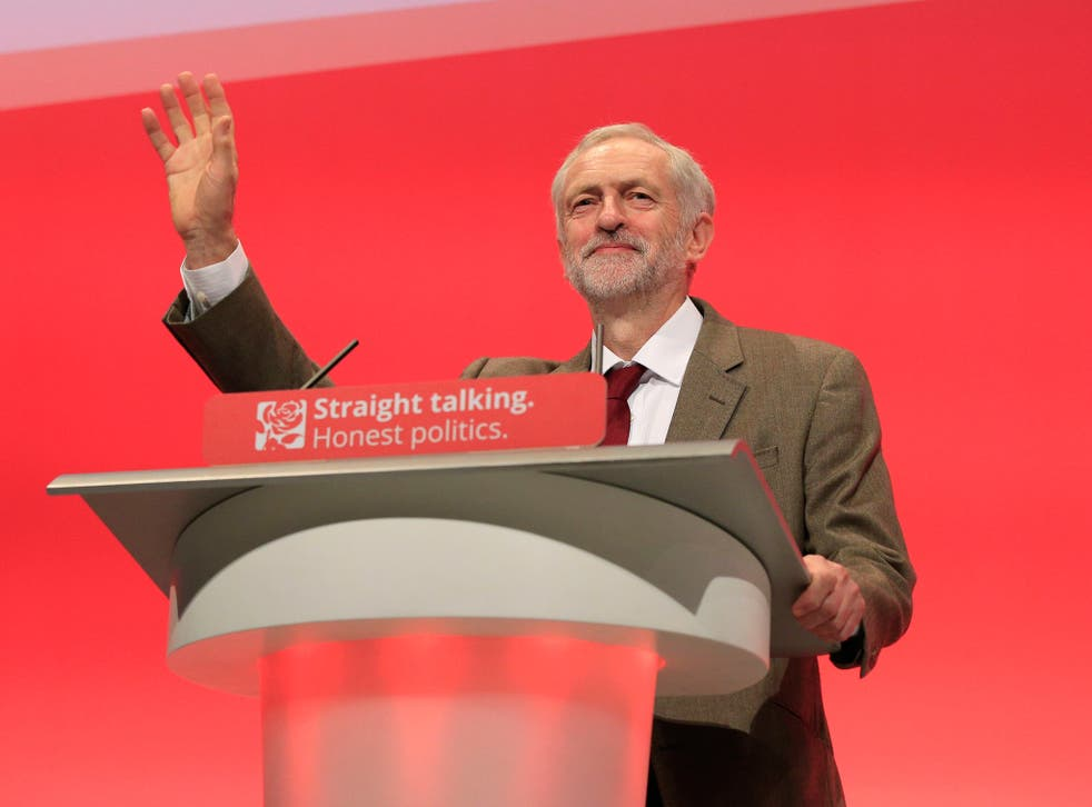 Labour Party leader Jeremy Corbyn making his keynote speech during the third day of the Labour Party conference at the Brighton Centre in Brighton