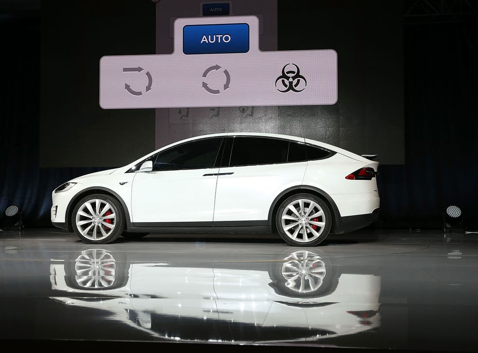 A new Tesla Model X Crossover SUV is displayed on September 29, 2015 in Fremont, California