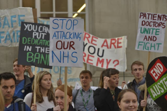 """""""When thousands of junior doctors took to the streets of Westminster on Monday with our placards, we didn't just do it for ourselves and our salaries, we did it for our patients."""" Photograph: Jeremy Hunt addresses delegates at the Tory conference, 2014"""