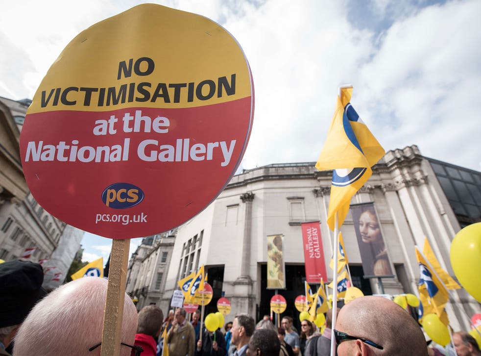 Opponents of plans to privatise services at the National Gallery protest outside the building last week, 100 days after the strike began