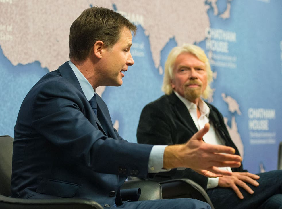 Nick Clegg, left, with Sir Richard Branson at a debate in London this March on the international response to the drugs trade