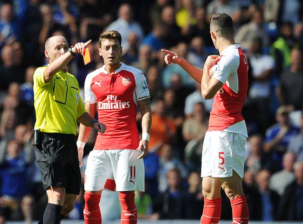 Dean, left, dismisses Arsenal defender Gabriel in the recent Premier League clash with Chelsea