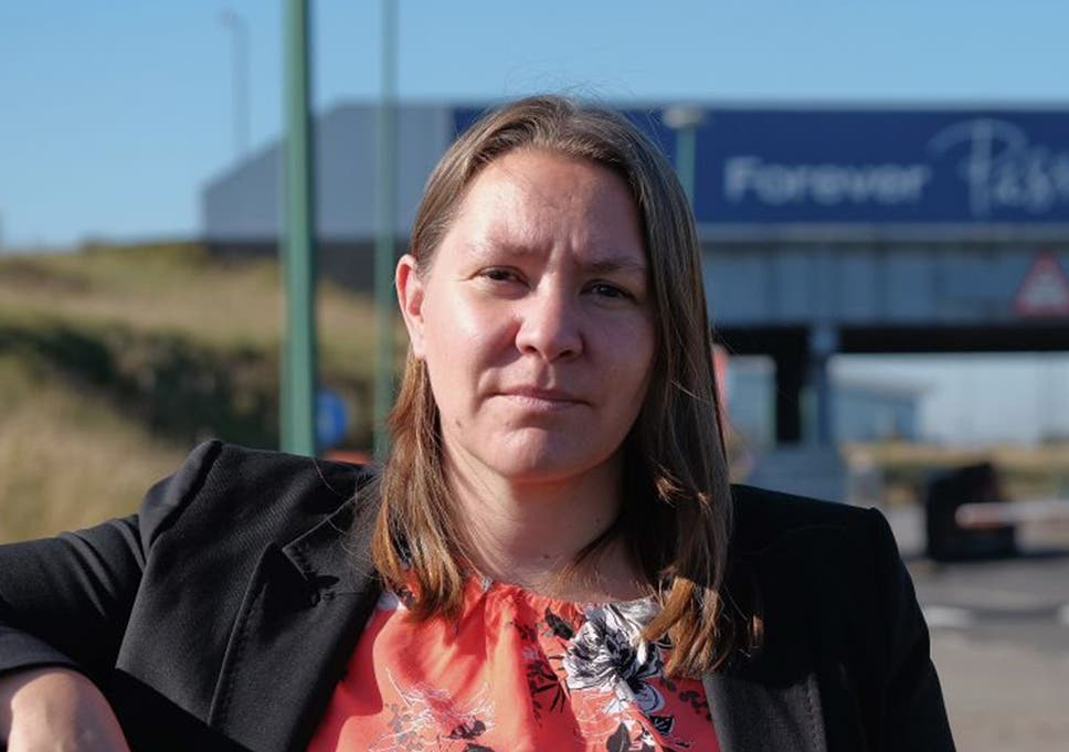 Labour MP for Redcar Anna Turley is pictured outside the main entrance to the SSI UK steel plant after discussions about the closure of the site with the company