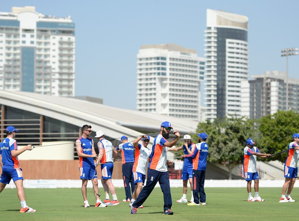 England players training in Dubai yesterday in preparation for their Test series against Pakistan