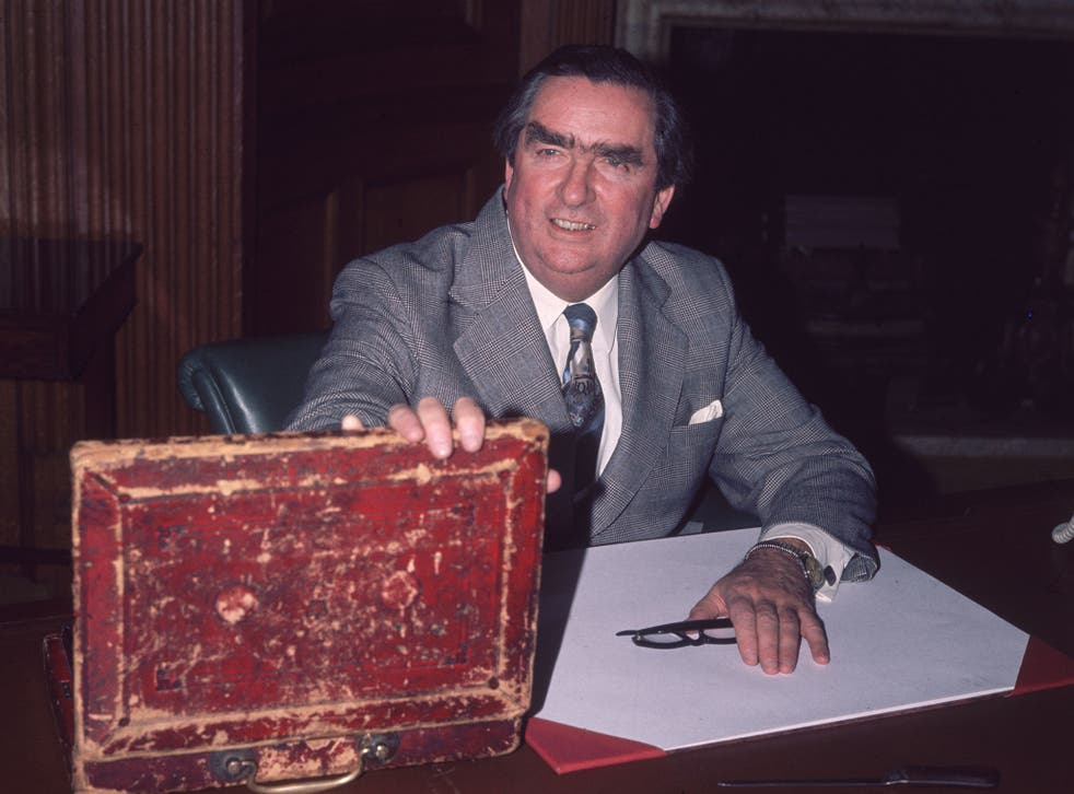 Denis Healey opening the budget box at his Treasury office in London, in 1977 during his time as Chancellor.