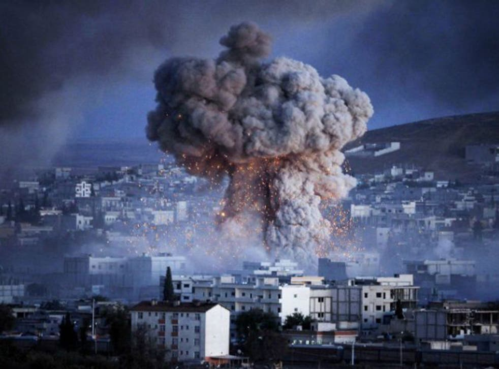 An explosion rocks Syrian city of Kobani