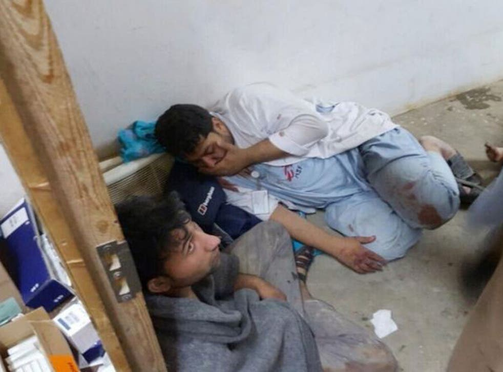Medical staff in the immediate aftermath of an airstrike against their hospital in Kunduz, Afghanistan