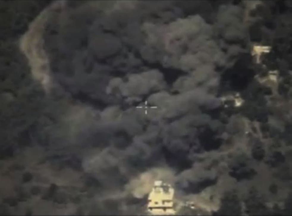 An image from the Russian Defense Ministry depicting an airstrike in Syria