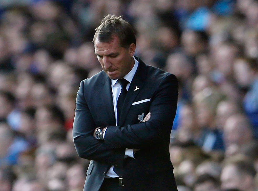 Liverpool manager Brendan Rodgers looks dejected as Liverpool can only draw with Everton
