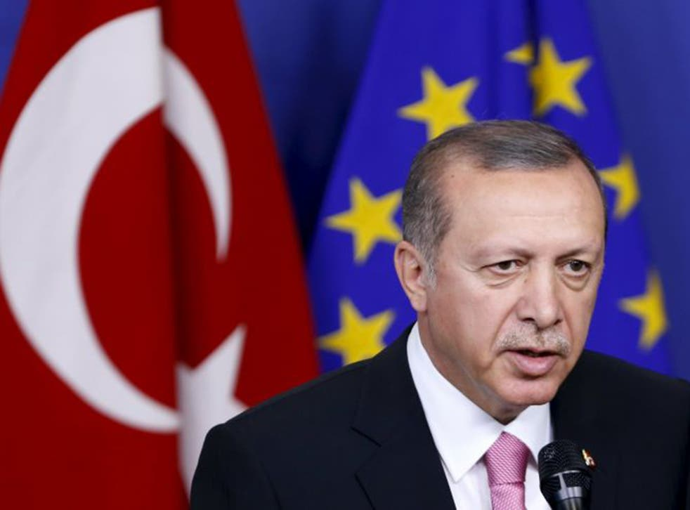 Turkey's President Tayyip Erdogan, in Brussels, demanded the EU's support for a 'safe zone' in northern Syria