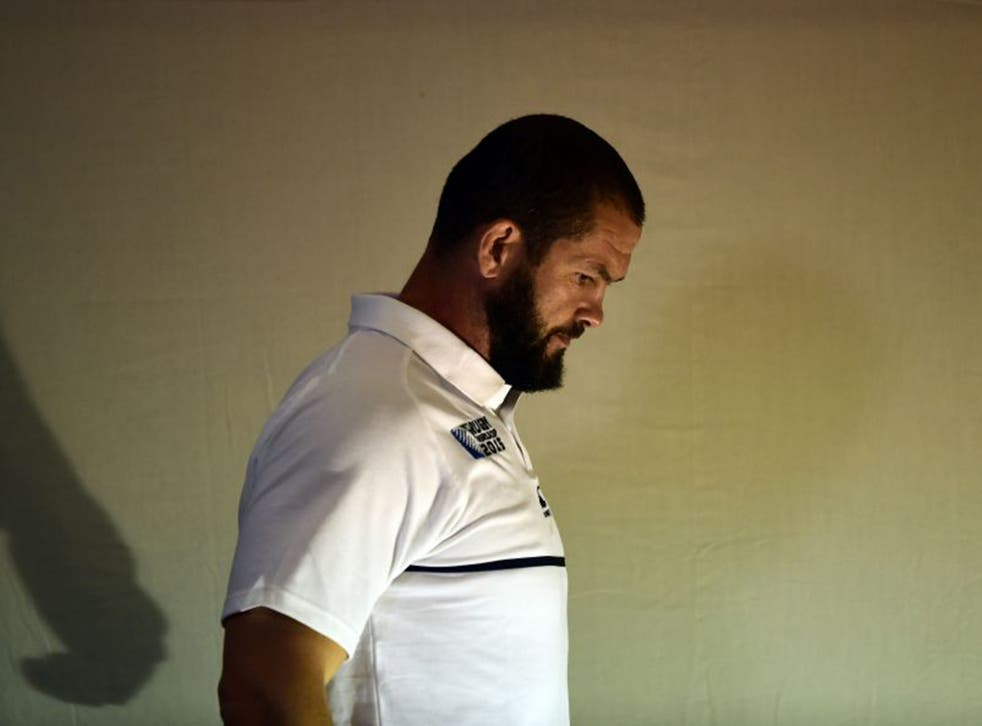 Andy Farrell leaves Monday's press conference at Pennyhill Park where he mounted a staunch defence of England head coach Stuart Lancaster