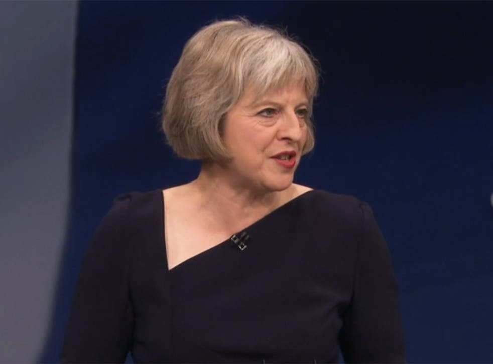 Theresa May speaks at the Conservative party conference