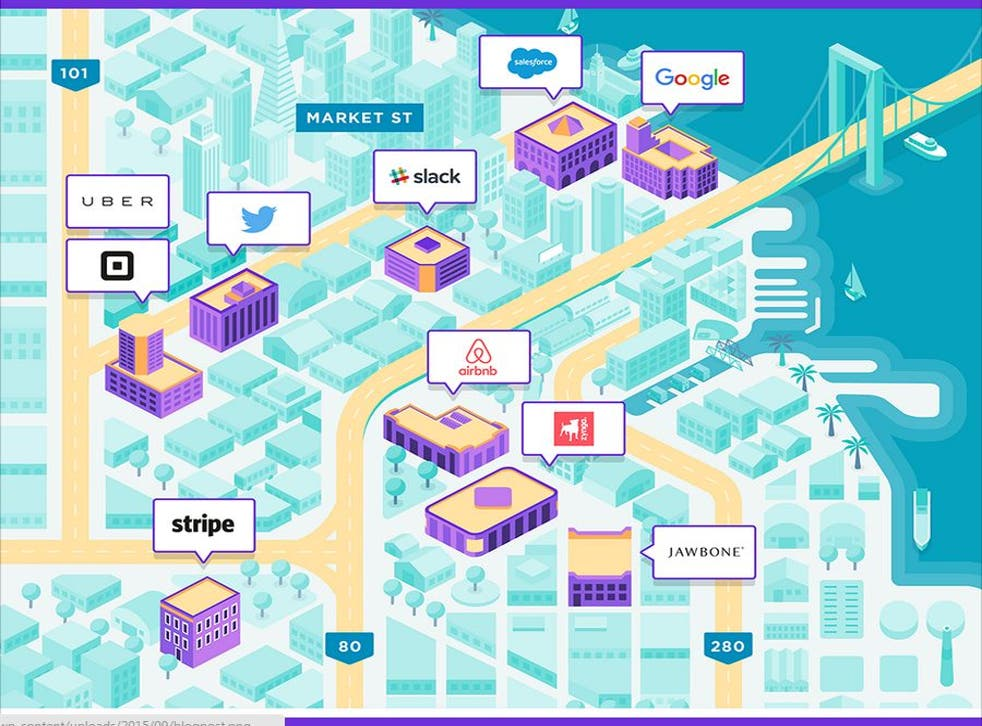 Location of tech companies in Soma district of San Francisco. Source: Radpad