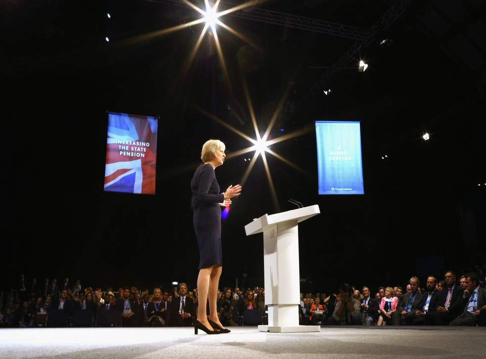 Theresa May delivers her keynote speech to delegates