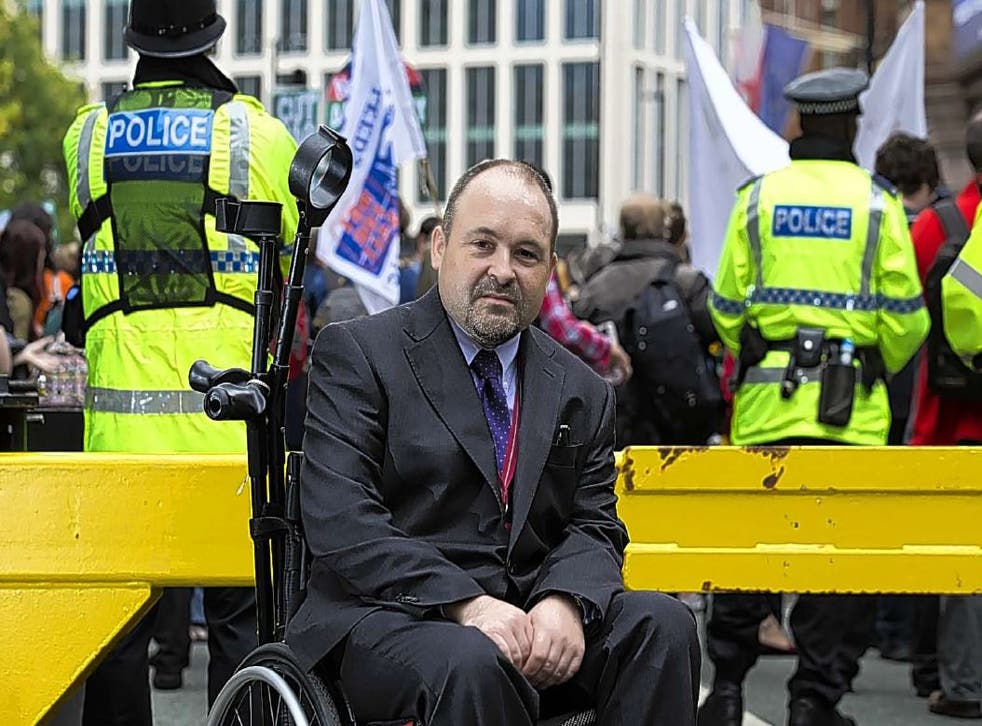 The Independent's James Moore was attacked by protesters for disability rights outside the Tory Party conference in 2015
