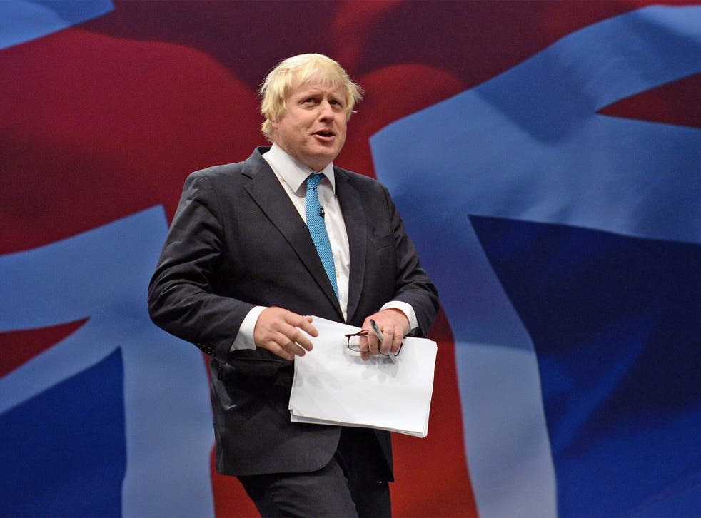 London's Mayor Boris Johnson played to the crowd at the Conservative Party Conference
