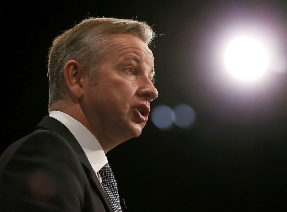 Justice Secretary Michael Gove addresses delegates at the Conservative Party conference