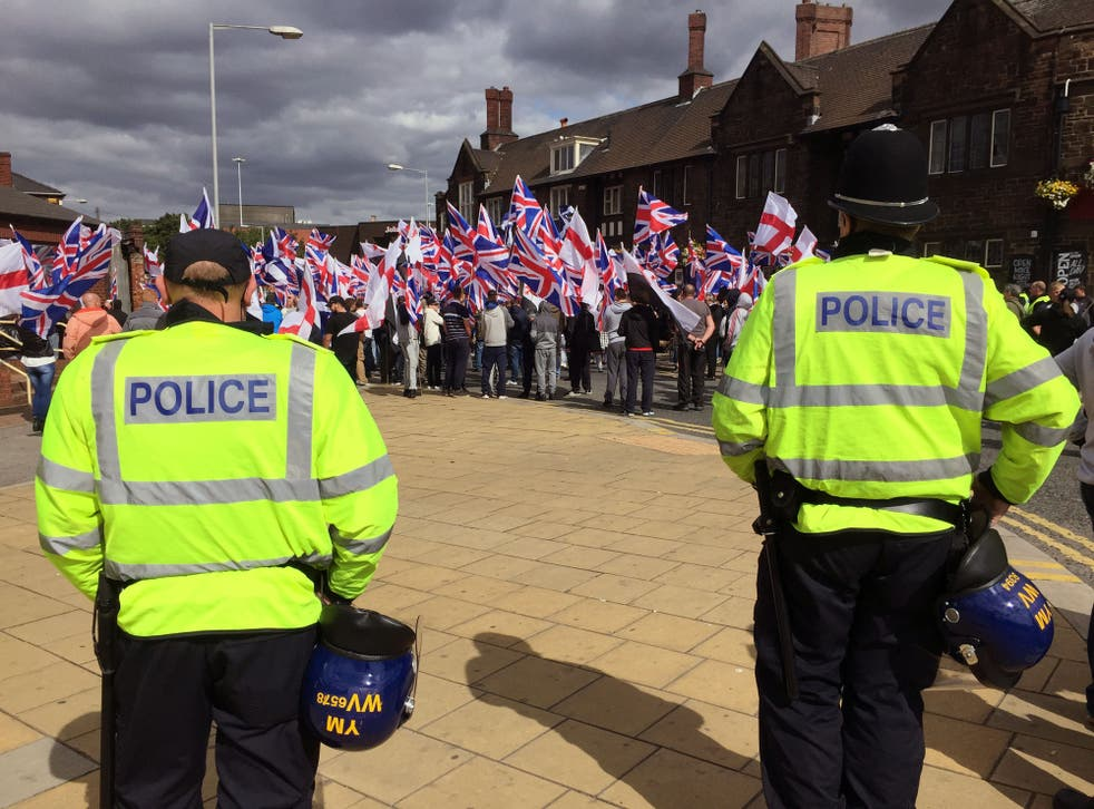 Far right group Britain First protest against the Islamification of the UK
