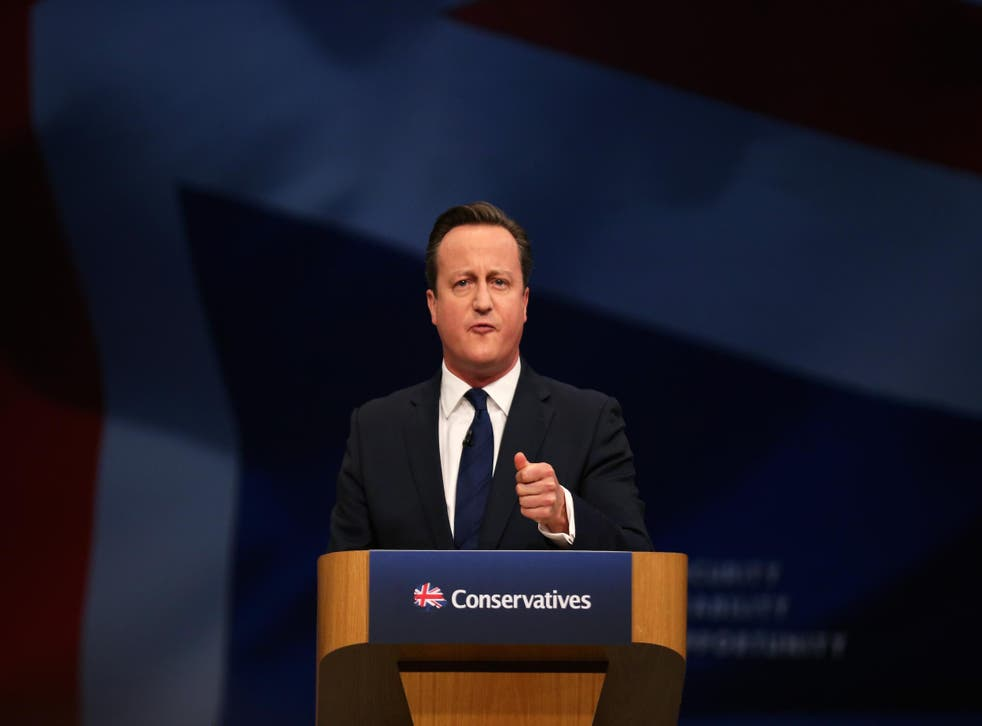 David Cameron speaks at the Tory party conference