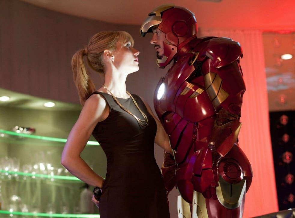 Gwyneth Paltrow with Robert Downey Jr in Iron Man 2