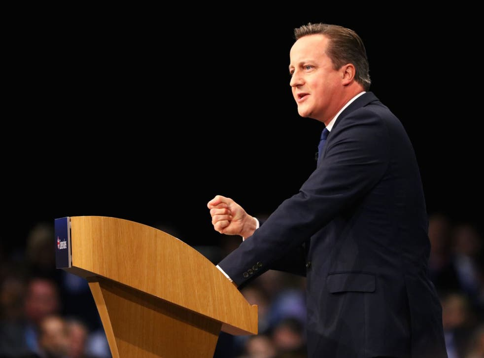 David Cameron gives his keynote speech to delegates on the fourth and final day of the Conservative Party Conference