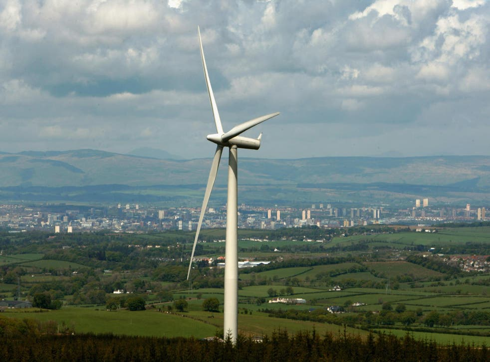A wind turbine stands at Whitelee Wind Farm, the biggest in the UK