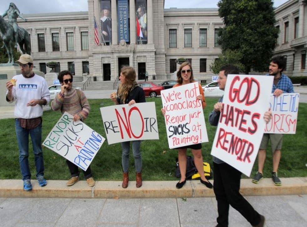 Renoir Sucks protestors gather outside the Museum Fine Arts in Boston