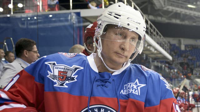 Russian President Vladimir Putin takes part in an ice hockey match between former NHL stars and officials at the Shayba Arena in the Black Sea resort of Sochi. Vladimir Putin spent his 63rd birthday on the ice, playing hockey with NHL stars against Russian officials and tycoons