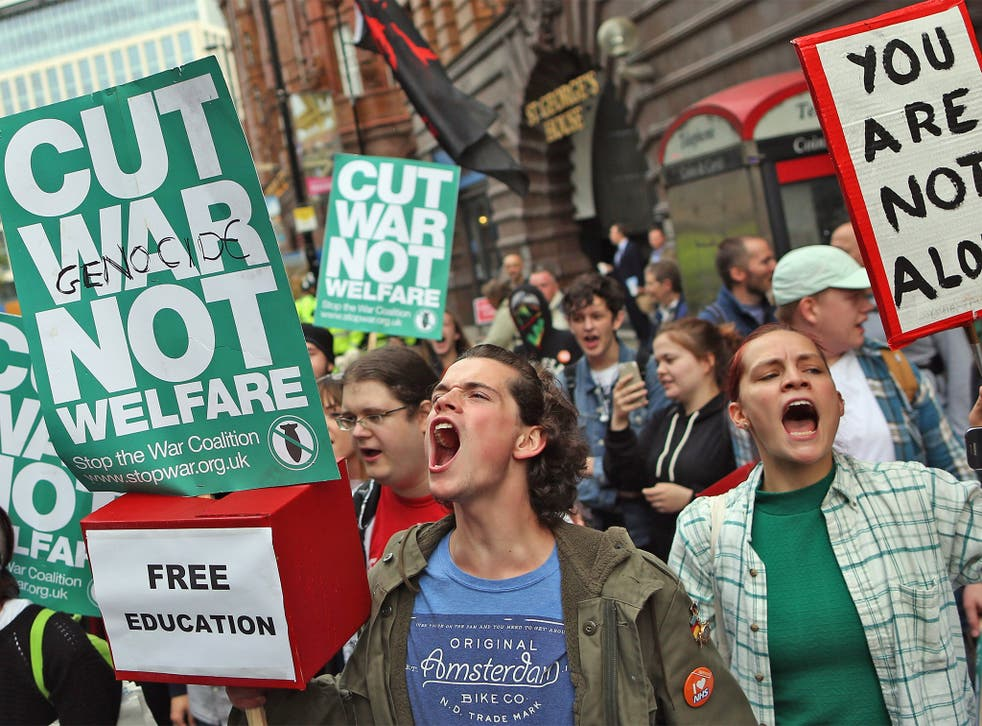 Anti-austerity and anti-war protesters have picketed outside the Tory conference in Manchester every day since it opened on Sunday
