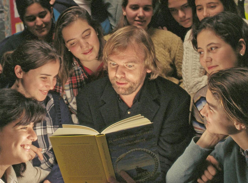 Book club: Gaarder – here reading to schoolchildren – tapped into adolescent preoccupations with his subject matter