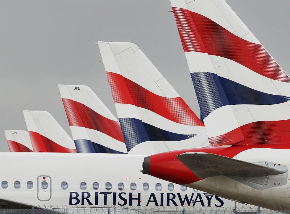 British Airways planes parked at Heathrow