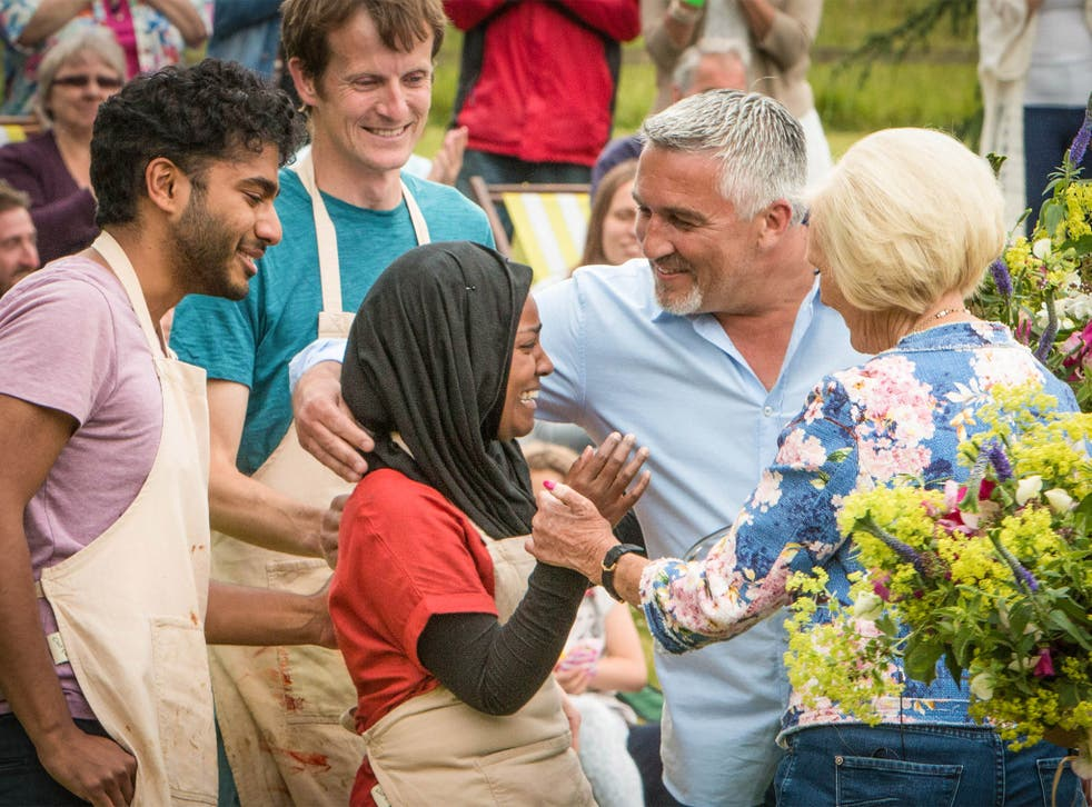 Nadiya has a moment with Paul Hollywood and Mary Berry; Ian and Tamal look on