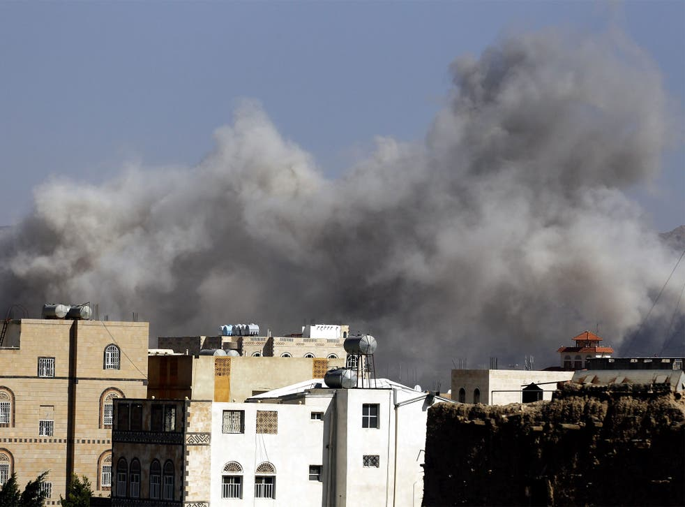 Saudi air strikes target a Houthi-led army academy in Sana'a