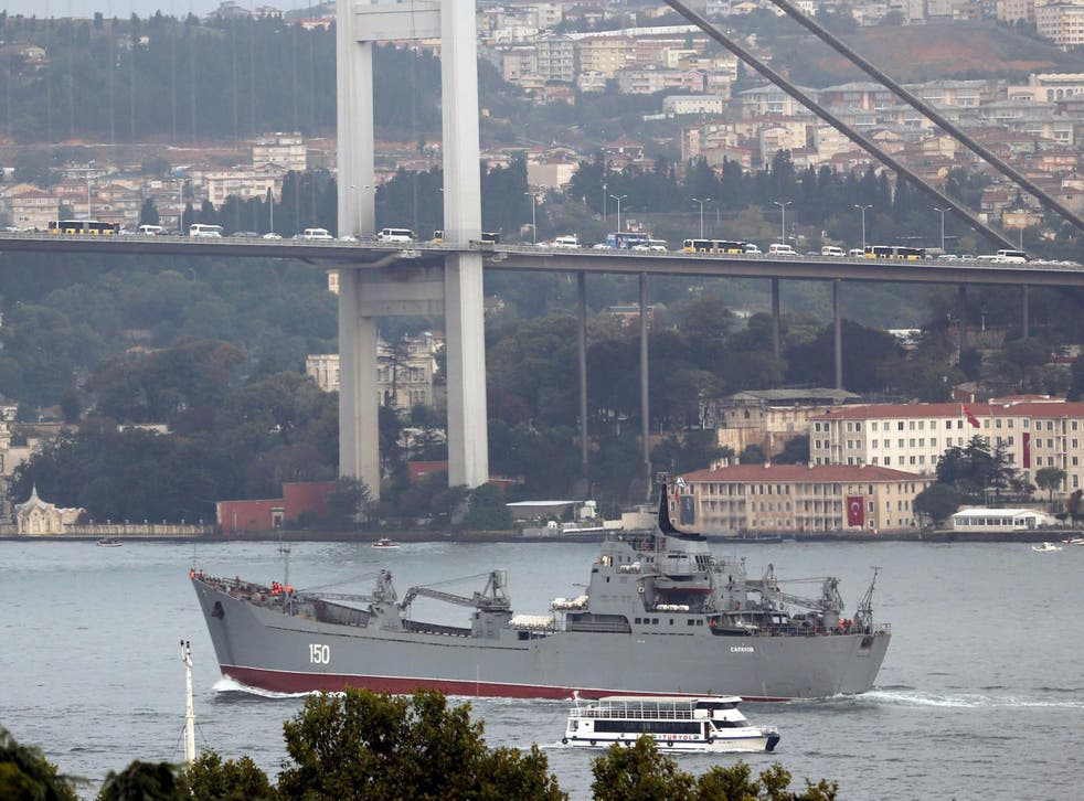 Russian naval landing ship Saratov sails in the Bosphorus, on its way to the Black Sea, in Istanbul, Turkey