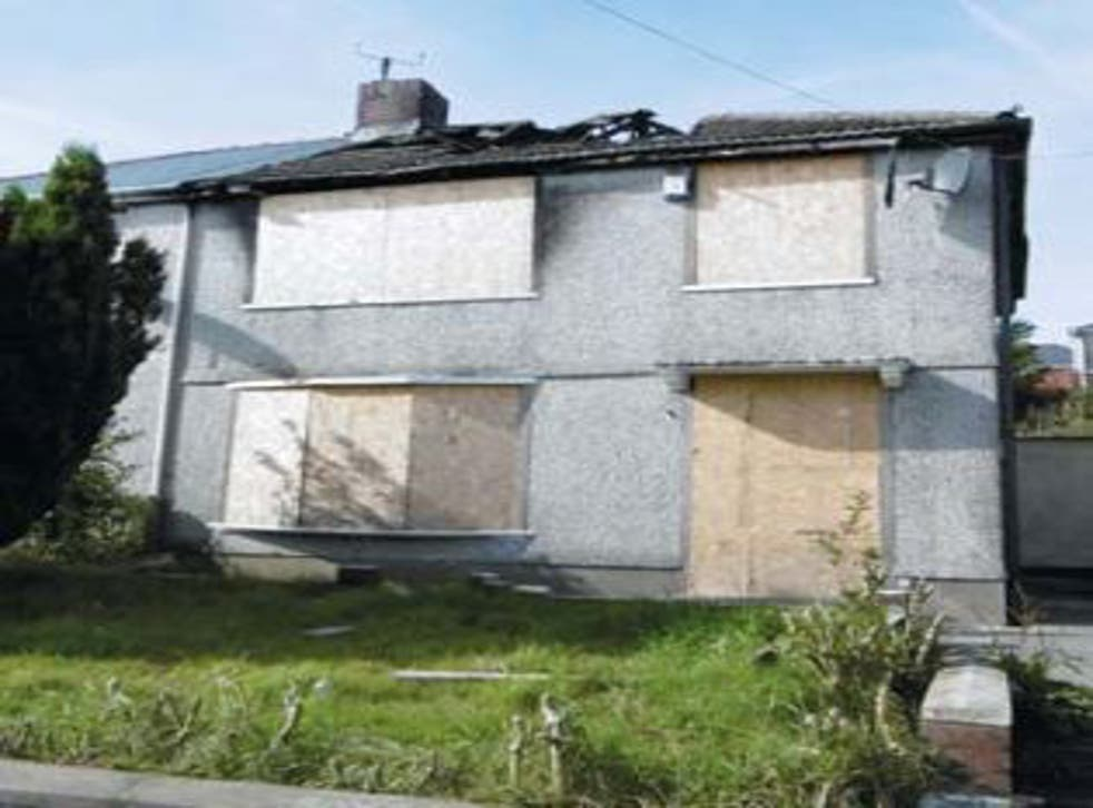 The property in Tredegar, South Wales has suffered extensive fire damage but could fetch around £50,000 once renovated.