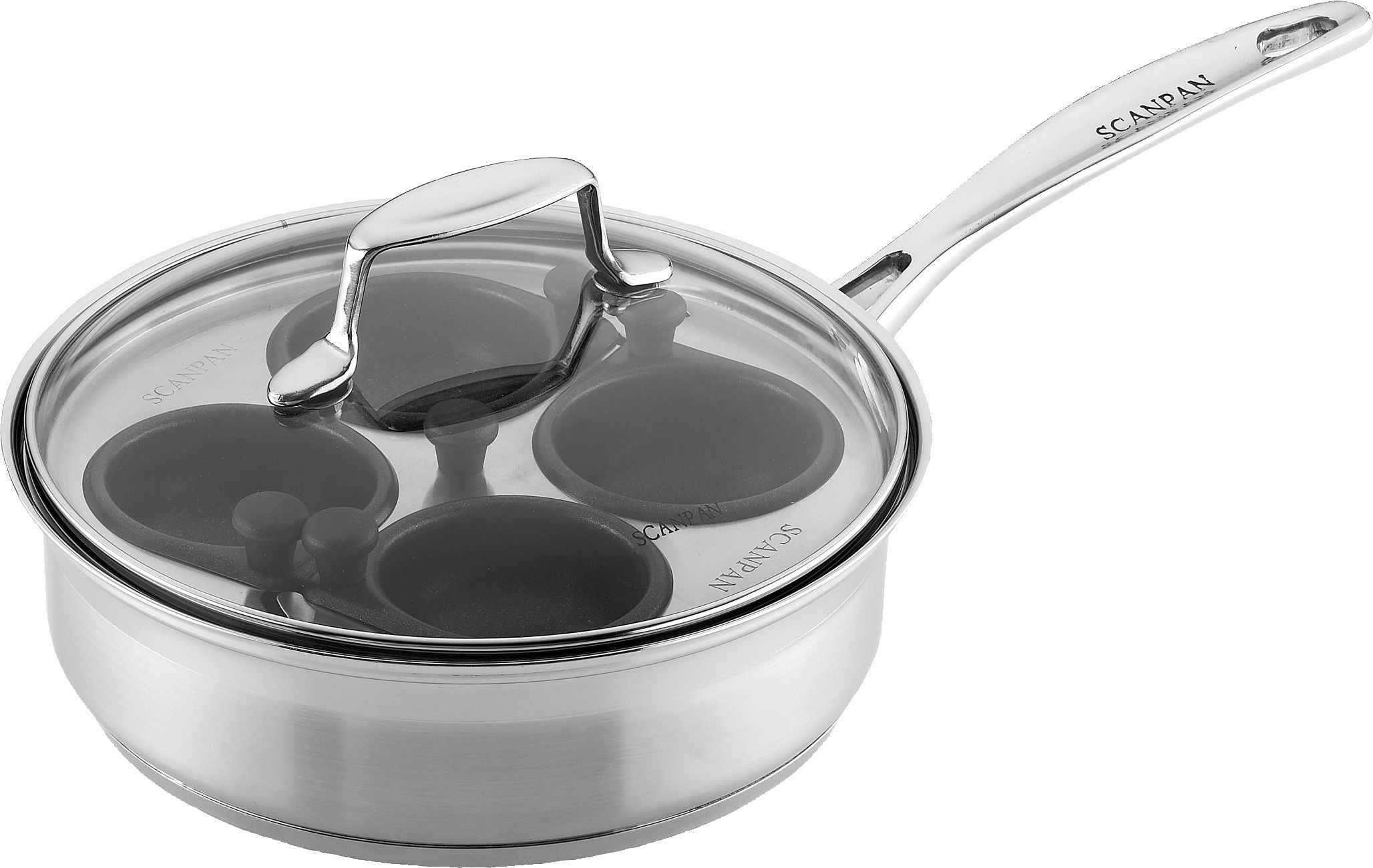 4 HOLE EGG POACHER COOKING PAN WITH CUP /& LID POACH NON STICK LID