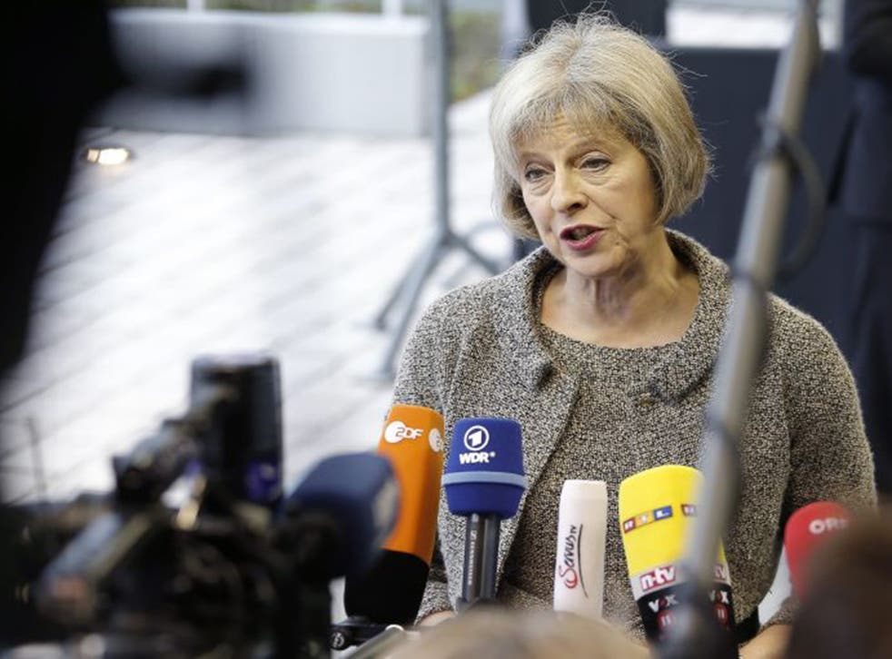 Before an EU meeting in Luxembourg on Thursday, Theresa May said more refugees should be taken from Middle Eastern camps