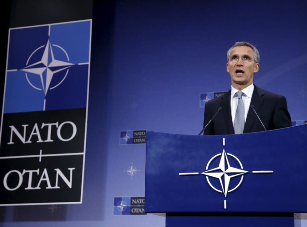 NATO Secretary General Jens Stoltenberg addresses a news conference on Thursday. NATO has said it is prepared to send troops to Turkey to defend its ally after violations of Turkish airspace by Russian jets bombing Syria