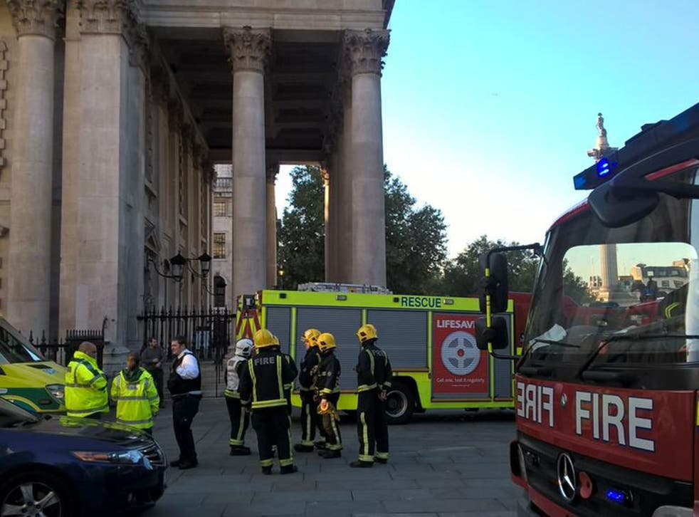 The London Fire Brigade said it was tackling a 'chemical incident' by St Martin-in-the-Fields Church