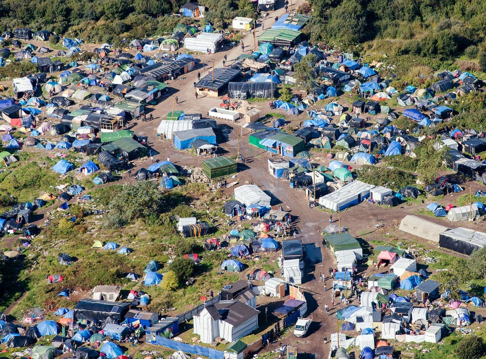 The Calais 'Jungle' camp seen from the air