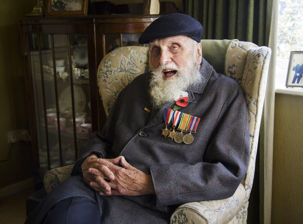 Pacifist war veteran George Evans at home in Wellington, Shropshire, this week