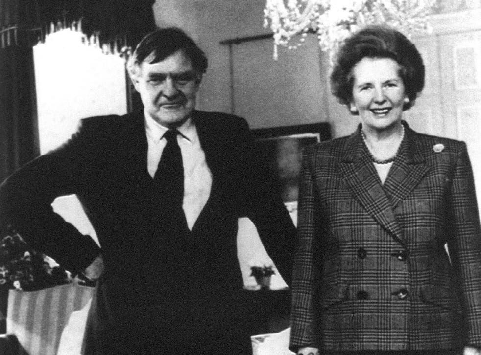 Undated file photo of Prime Minister Margaret Thatcher with her press secretary Bernard Ingham
