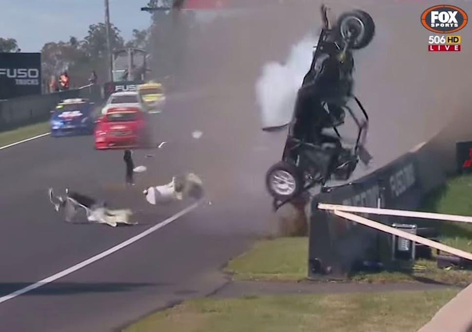 Damien Flack crash video: Bathurst 1000 rocked by two