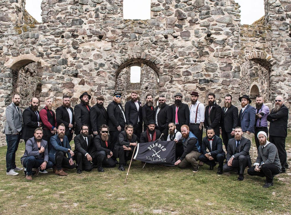 A picture taken for the photoshoot of the Bearded Villains in Sweden, who were mistaken for Isis terrorists