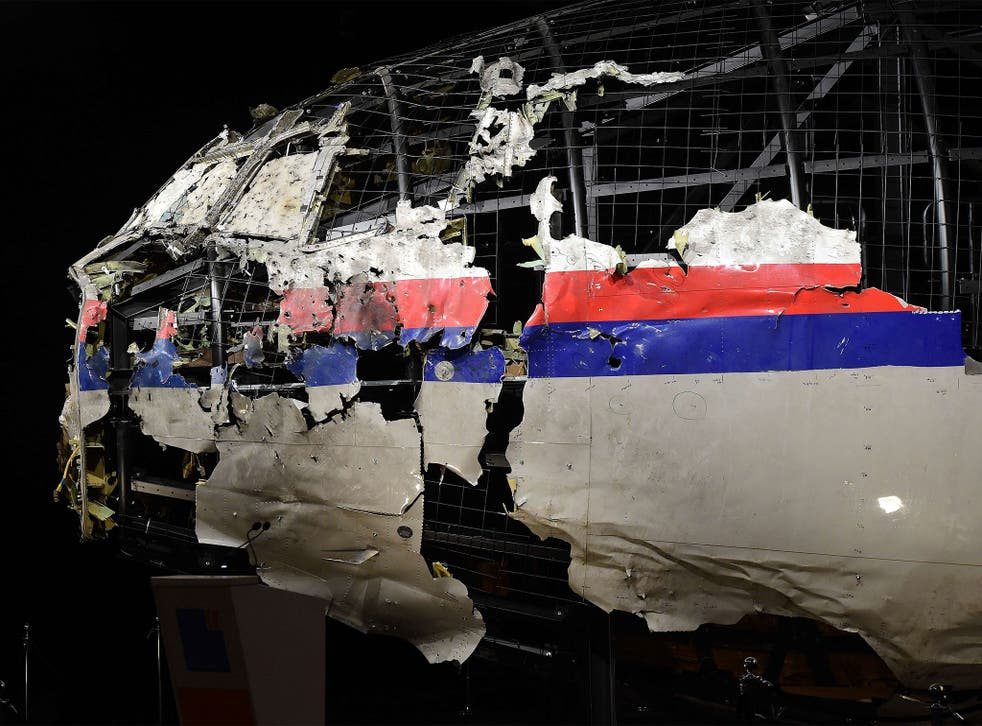 Investigators re-assembled the front part of MH17